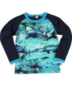 Molo fantastisch blauwe t-shirt met haaienprint. molo.nl.emilea.be