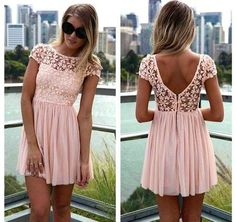 2015 New Style Women Lace Backless Dress Solid Mini Ball Gown Girl Cloth for Summer Hot Sale Free 5 Colors Shipping Lace Top Dress, Lace Summer Dresses, Trendy Dresses, Cute Dresses, Dress Skirt, Beautiful Dresses, Casual Dresses, Dress Up, Short Sleeve Dresses
