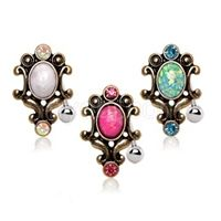 Antique Gold Opal Top Down Navel Ring