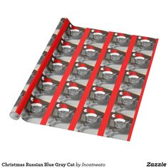 Christmas Russian Blue Gray Cat Wrapping Paper