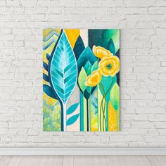 Bright spring painting with leaves and flowers. Modern, boho, textured style. Love to make bright and creative interiors!