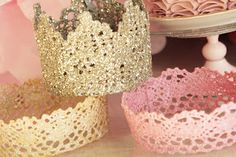 DIY princess crowns from lace, paint, glitter, mod podge