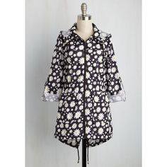 80s Long 3 April Showers Bring Wildflowers Raincoat ($60) ❤ liked on Polyvore featuring outerwear