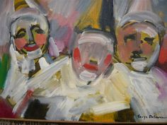 Oil painting signed SERGE DELAVEAU three clowns in  Pierrot circa 1970-1980 oil on canvas painting white clown Pierrot lunar Pierrot circus