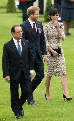 Prince Harry and the Duchess of Cambridge with Francois Hollande...