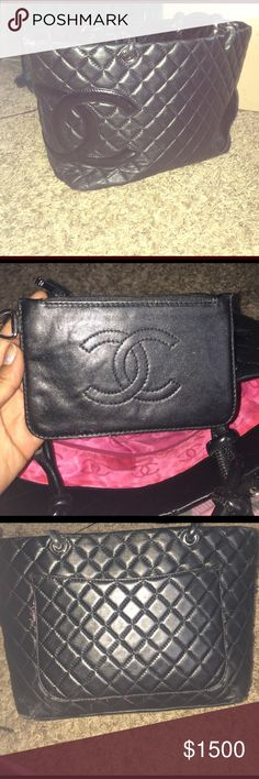 Chanel Tote Purse with Coin purse Black Chanel tote and coin purse. Silver hardware. Pink interior. Minor stains in the interior and black pocket semi ripped. Natural strap wear and tear. My first love so take care of it ☺️ CHANEL Bags Totes