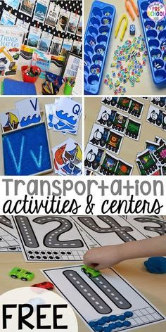 Road Number Mat FREEBIE plus my go to Transportation themed math writing fine motor sensory reading and science activities for preschool and kindergarten. Transportation Preschool Activities, Transportation Unit, Preschool Themes, Preschool Learning, Science Activities, Preschool Crafts, Activities For Kids, Kindergarten Science, Science Fun