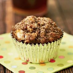 Morning Glory Muffins | Substitute apricots or raisins for chopped pitted dates in this recipe if you like. The dried fruits, nuts, oatmeal, wheat bran, and whole wheat flour contribute plenty of fiber to each morning glory muffin. Complete your breakfast with fat-free yogurt and fruit.