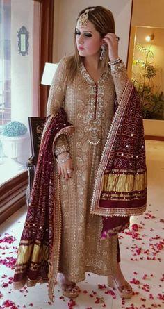 Pakistani formal shalwar kameez, women clothing, ethnic wear, indian/bengali fashion - All About Shadi Dresses, Pakistani Formal Dresses, Pakistani Wedding Outfits, Pakistani Dress Design, Bridal Outfits, Indian Dresses, Indian Outfits, Pakistani Dresses Shalwar Kameez, Pakistani Party Wear