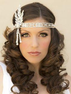Hair Comes the Bride - Great Gatsby Inspired Bridal Headpiece ~ Flapper, $96.00 (http://www.haircomesthebride.com/great-gatsby-inspired-bridal-headpiece-flapper/?gclid=CNmZi5qMtcQCFZKGaQodoBgAEQ/)