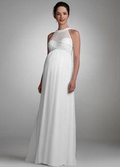 David`s Bridal Wedding Dress: Chiffon Maternity Gown with Beaded Neckline Style 230M15880