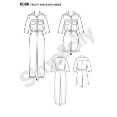 s 8060 This utility jumpsuit in two lengths features a button front bodice with collar, chest pockets, drawstring waist, and side pockets. Flat Drawings, Flat Sketches, Boiler Suit, Jumpsuit Pattern, Pattern Library, Simplicity Patterns, Technical Drawing, Button Down Dress, African Fashion Dresses