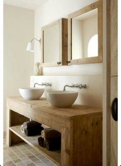 Wooden bathroom cabinet with double sink with bottom wood from desig .Wooden bathroom cabinet with double sink with bottom wood from designe Handcrafted White Brushed Mirror and Table Set for sale online Bathroom Renos, Laundry In Bathroom, Bathroom Interior, Small Bathroom, Natural Bathroom, Diy Bathroom Vanity, Double Sinks In Bathroom, Earthy Bathroom, Bathroom Table
