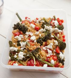 Quinoa with Spicy Roasted Broccolette, Tomatoes and Goat Cheese, Wholeliving.com #lunchbunch #glutenfree #vegetarian
