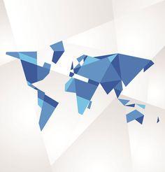 3d geometric shapes world map vector