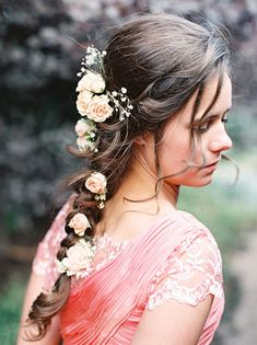 Fresh Flowers in Braided Hair | photography by http://featherandstone.com.au/