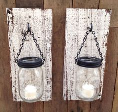 Rustic barn wood mason jar candle holder by Thesalvagednail