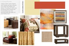 Using a warm color scheme with orange and tans will give your space the feeling you desire. Providing for both your functional space needs and incorporating your own personal style will polish off your family room. Warm Color Schemes, Warm Colors, Family Room Design, Family Rooms, Living Rooms, Interior Design Help, Tans, Beautiful Homes, House Beautiful