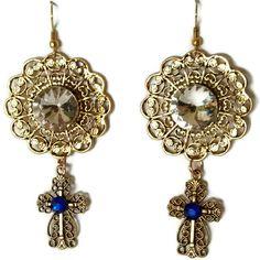 anne boleyn earrings, tudor renaissance earrings, large crystal... (340 DKK) ❤ liked on Polyvore featuring jewelry, earrings, renaissance jewelry, evening jewelry, earring jewelry, rhinestone jewelry and holiday earrings