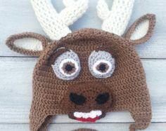 frozen hat's crochet | Sven From The Movie Frozen Reindeer Crochet Hat ...