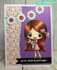 Check out this sweet card made by DT Tina using Melanie ~ Need a Hug?  #stampanniething #rubberstamps #copics #copicmarkers #cardmaking #chibistamps #hug #bunny