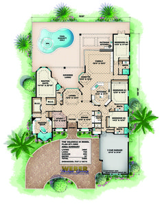 Coastal Mediterranean Home Floor Plan
