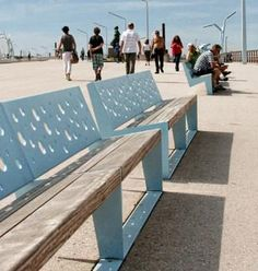 Benches on the Scheveningen Boulevard, The Hague, NL by Grijsen park & straatdesign. Click image for link to full profile and visit the slowottawa.ca boards >> https://www.pinterest.com/slowottawa/