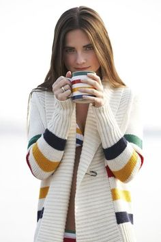 Opt for a classic Canadian look in this multistripe shawlneck cardigan by HBC Signature. This heritage-chic sweater is ideal for cozying up at the cabin. Beach Wear Dresses, Sexy Dresses, Summer Dresses, Hudson Bay, Patagonia Pullover, Floral Print Shirt, Bodycon Dress Parties, Luxury Dress, Illustrations