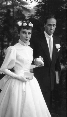 The 18 Best Celebrity Wedding Dresses Of All Time via @WhoWhatWear // Audrey Hepburn, 1954
