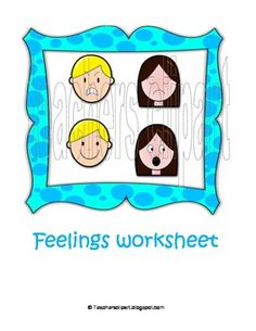 Set of feelings Colored and Black/White cliparts . Worksheet with several activities and fun games for practicing. :::FOR COMMERCIAL USE:::The wo...