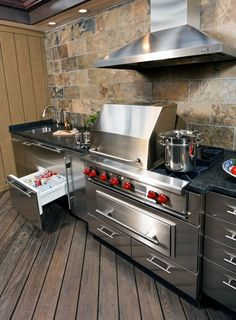 Wolf Grill With Sub Zero Refrigerator Drawers And Danver Stainless Steel Cabinetry Outdoor Kitchen Outdoor Kitchen Countertops Outdoor Kitchen Cabinets