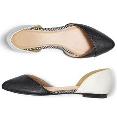 $34.99 or less - Black, white and trend-right, these leather like flats with an almond-shape toe will update any outfit. These flats add stylish all-day comfort and transform any look from flat to fab!