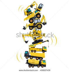 Tower assembled from building machines - truck, digger, crane, bagger, mix. Construction machinery yellow set. Collected ground works. Machine vehicles, excavator. Build equipment. Vector illustration