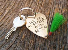 Fly Fishing Keychain Personalized Fishing Lure Key chain for Husband Wedding Day Gift for Newlyweds Engagement Bride and Groom Great Catch by CandTCustomLures on Etsy https://www.etsy.com/listing/203686891/fly-fishing-keychain-personalized