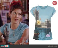 Rebecca's blue London graphic tee on Bad Judge.  Outfit Details: http://wornontv.net/39557/ #BadJudge