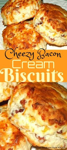 This delicious Cheezy Bacon Cream Biscuits is one of incredibly delicious and ea. - This delicious Cheezy Bacon Cream Biscuits is one of incredibly delicious and easy homemade recipe! Easy Homemade Recipes, Easy Bread Recipes, Cooking Recipes, Bacon Bread Recipe, Homemade Breads, Tasty Food Recipes, Recipes With Bacon, Best Biscuit Recipe, Homemade Biscuits