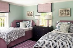 corner headboard, lilac blue and white bedroom