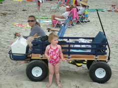 Summer is here and it' time to head to the beach! If you have kids, you know that hauling all the stuff that goes with beach trip can tire poor dad (or mom). Festival Trolley, Fishing Cart, Beach Wagon, Kids Wagon, Beach Cart, Little Swimmers, Beach Hacks, Beach Buggy, Radio Flyer