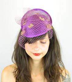 Pillbox Dipped Hat Fascinator Headpiece with Filigree Gold Butterflies and Cascading Veil in Lilac Purple, Cocktail Party, Hen Night by ElleSantos on Etsy https://www.etsy.com/uk/listing/202862336/pillbox-dipped-hat-fascinator-headpiece