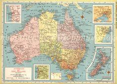 1940s LARGE AUSTRALIA Map vintage map deco by VintageInclination