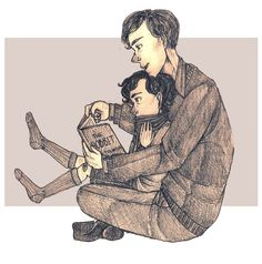 """""""I bet Mycroft and Sherlock were closer when Sherlock was younger."""" LOOK AT WHAT MYCROFT IS READING TO SHERLOCK HOLY COW"""