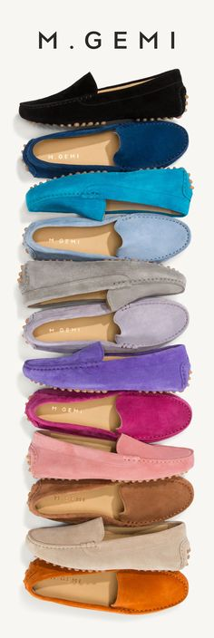 The driving moccasin that sparked  an obsession. Now in 17 rich new colors of decadent suede. These are beautiful!