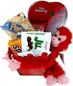 Valentines Day Movie Night Gift Basket Includes a Box of Chocolates Popcorn Concession Stand Candy a Stuffed Hanging Monkey and 2 Free Redbox Movie Rentals Movie Basket Gift, Movie Night Gift Basket, Movie Gift, Chocolate Gifts, Chocolate Box, Valentine Gifts, Valentines Day, Valentine Ideas, Free Redbox