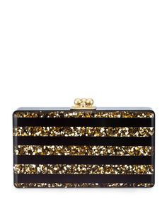 Gold Confetti with Black Stripes on this fabulous evening clutch. Find it at Neiman Marcus only $1195.00
