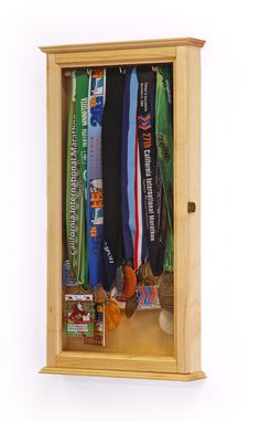 Sports Medals Display Case Wall Cabinet // Gorgeous Maple Wood Sourced And  Hand Crafted
