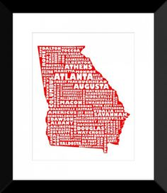 State Map Art, Typography Map Print - Georgia - RED