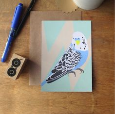 Ben the Budgie greeting card - Lorna Syson. Fun bird on a geometric background. Printed in the UK on recycled high quality card Blue Budgie, Bird Cards, Geometric Background, Budgies, Bird Design, Recycling, Stationery, Greeting Cards, Draw