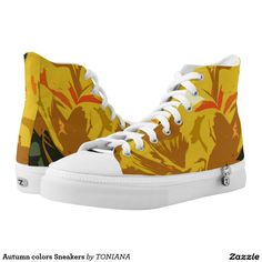 Shop Autumn colors Sneakers created by TONIANA. Shirt Outfit, Converse Chuck Taylor, Funny Tshirts, High Tops, Athletic Shoes, High Top Sneakers, Comfy, Pairs, Printed Shoes
