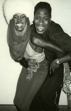 Grace Jones and André Leon Talley at Studio 54, 1970s. Photo by Ron Gallela.