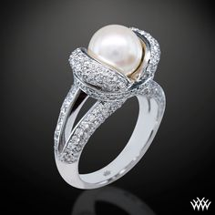 """Gaia"" Pearl and Conflict Free Diamond Ring $4950"